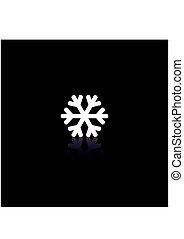 White Snowflake icon with reflection on black background