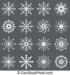 White snowflake icons on dark grey background.