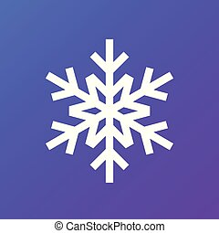 White snowflake on gradient background. Vector icon