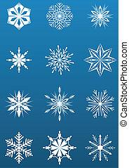 White snowflake shapes on blue background vector illustration.
