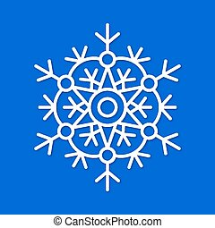 White snowflake with shadow isolated on blue background