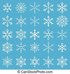 White Snowflakes Blue Background