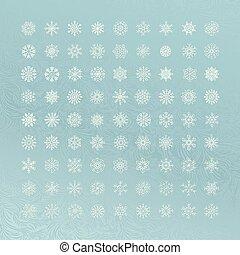 White snowflakes icon on blue background
