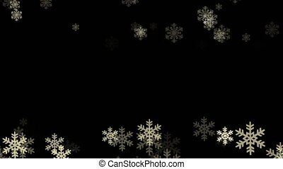 White snowflakes on a black backgrond