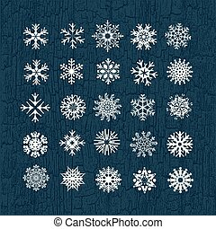White snowflakes on a blue background. Vector illustration