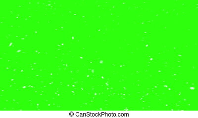 White snowflakes on a green screen