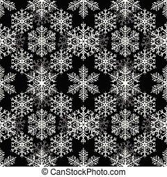 White snowflakes on black background. Christmas seamless pattern
