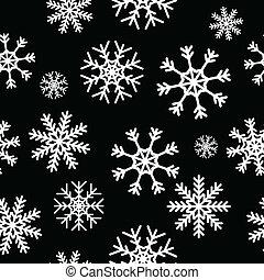 White snowflakes on black background seamless pattern for...