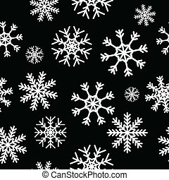 White snowflakes on black background seamless pattern for...