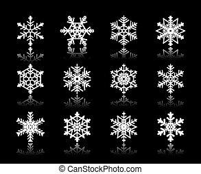 white snowflakes on black background.