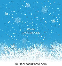 White snowflakes on blue background. Merry Christmas Greetings card
