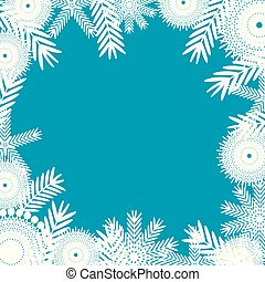 white snowflakes on blue background.