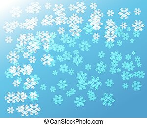 White snowflakes on blue christmas background