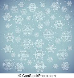 White snowflakes on blue. Winter background