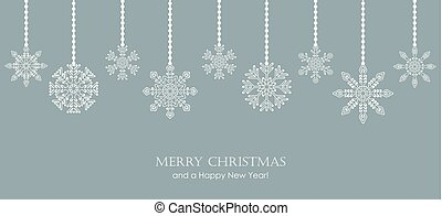white snowflakes on blue winter background