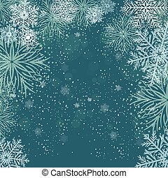 White snowflakes on dark blue background.  Merry Christmas Greetings card