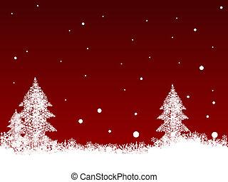 White SnowFlakes on Dark Red