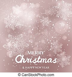 White snowflakes on glitter background. Merry Christmas Greetings card
