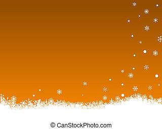 White SnowFlakes on Orange