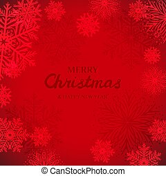White snowflakes on red background. Merry Christmas Greetings card