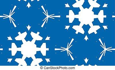 White Snowflakes Over Blue