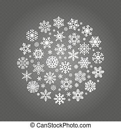White snowflakes round banner isolated on transparent background