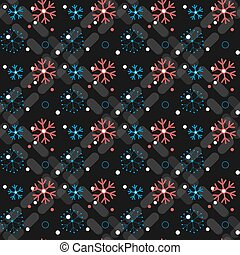 White snowflakes seamless pattern on black Christmas background.