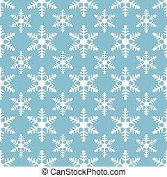 white snowflakes seamless pattern on blue background