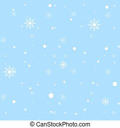 White snowflakes seamless pattern on blue background. Vector illustration.