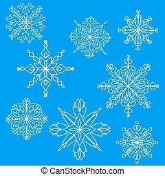 White snowflakes set on blue background