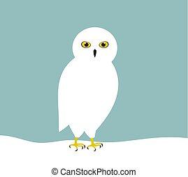White snowy owl in snow.