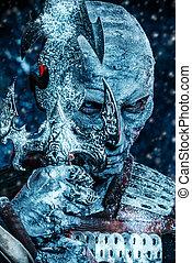 white snowy warrior - Halloween. Close-up portrait of a ...