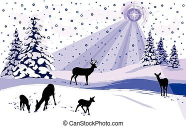 White Snowy Winter Scene with Deer