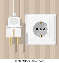 White Socket and plug