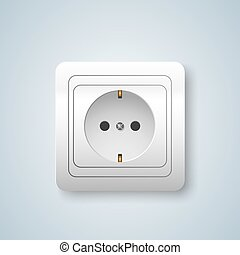 White socket icon on the grey background.