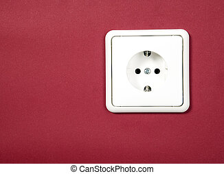 White socket on red background