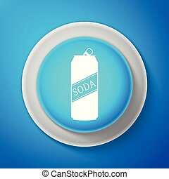 White Soda can icon isolated on blue background. Circle blue button with white line. Vector Illustration