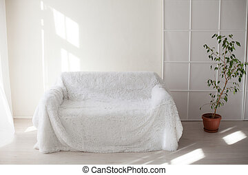 White sofa and green houseplants in the room