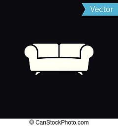 White Sofa icon isolated on black background. Vector Illustration