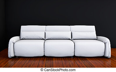 white sofa in a black room 3d render