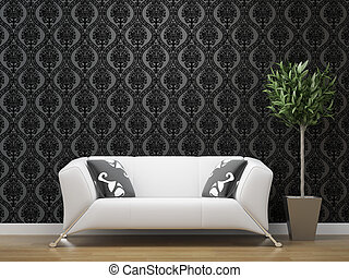 white sofa on black and silver wallpaper - interior design...