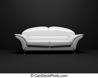 white sofa on black background insulated 3d
