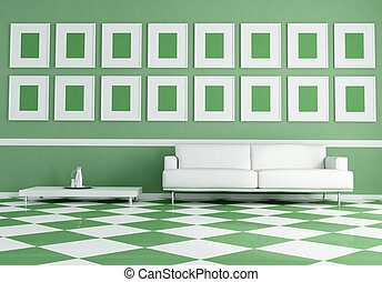 white sofa on green and white chessboard floor - white sofa...