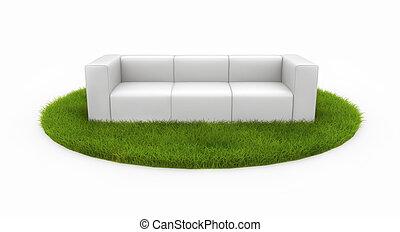 White sofa on green field