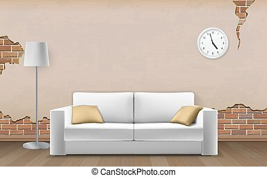 White sofa on old wall background