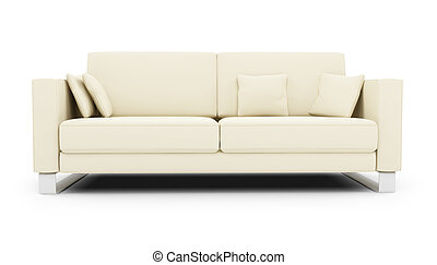 White sofa over white - isolated white sofa on a white...