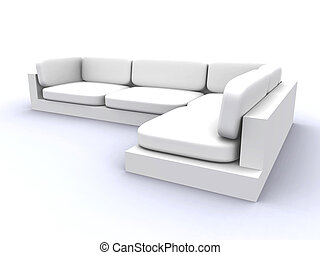 White Sofa - Semi-isolated (including Shadows) Sofa. 3D...