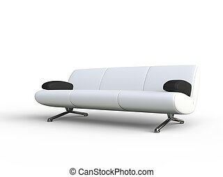 White Sofa With Black Armrest