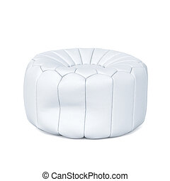 White soft leather beanbag isolated