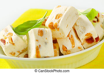 Soft nougat with peanuts and fruit